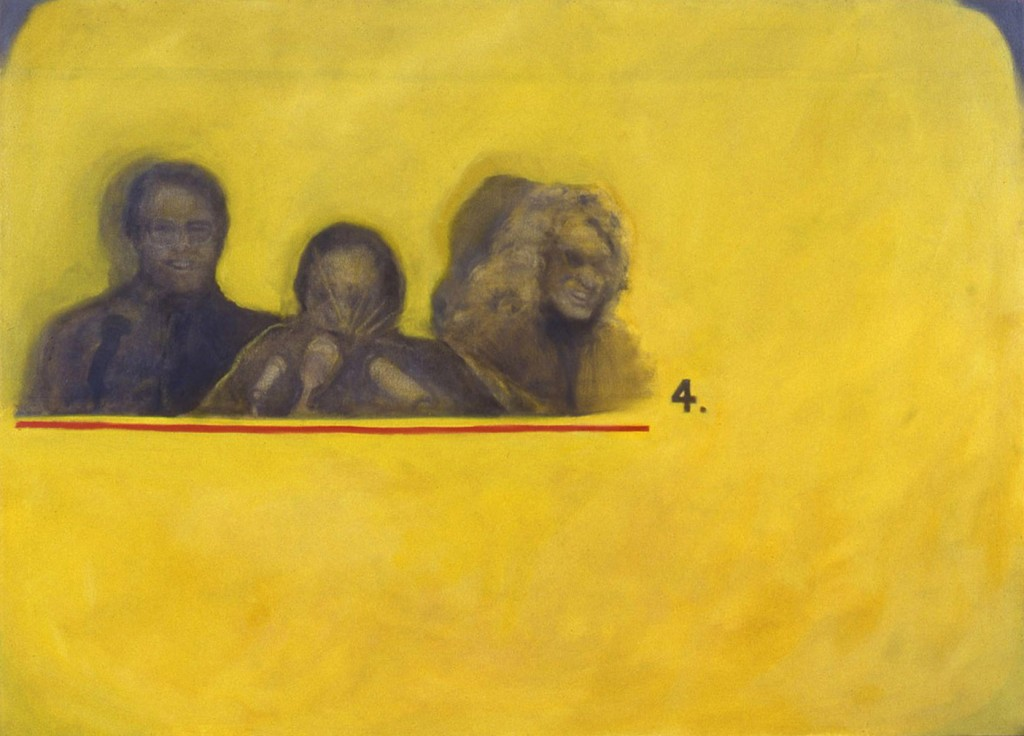 A. M. HOCH, Press Conference, oil on canvas, 52 x 72, 1991