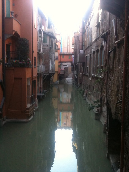 View of hidden  Bologna Canal, Via Piella. Site for proposed urban intervention in Bologna: three or four sequential immersive installations in which digitally programmed reel-to-reel tape-players are embedded in various sites.