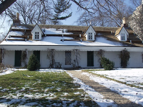 Alice Austen House Museum, Staten Island, New York;  interstices, by A. M. Hoch:  interior site-specific installation including murals, paintings on mirrors, video projections on base boards, camera obscuras, and imbedded video loops hidden inside various furniture and household objects, 2002