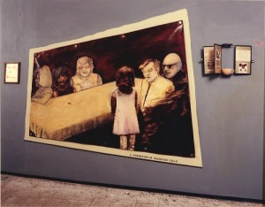 A. M. HOCH, Mitosis (Second Stage); installation with oil on canvas with grommets, mirror, rolodex with embedded text and photos; 96 x 138 inches, 1990