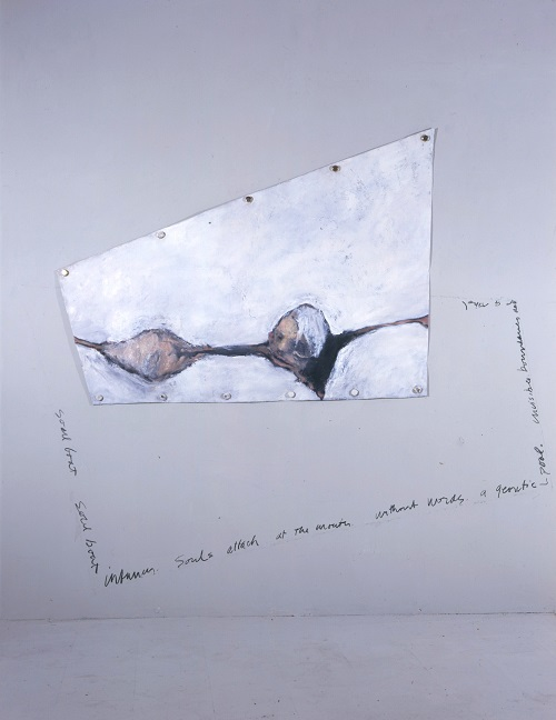 A. M. HOCH, Portrait of the Artist as a Young Boat (Infancy); installation with oil on canvas, grommets, furniture glides, latex paint and charcoal; 96 x 86 inches, 1988