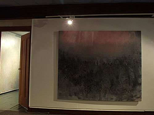 A. M. HOCH, interstices, site-specific installation at Alice Austen House Museum (2002): shot of entry with oil on canvas painting: September 11 (large), 58 x 68 inches, 2001