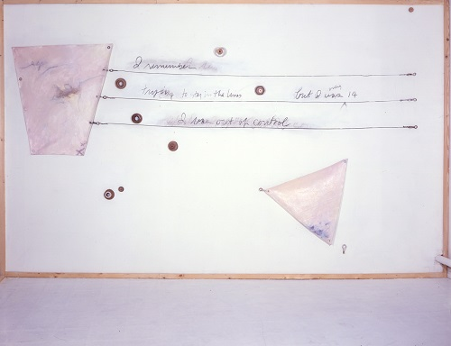 A. M. HOCH, Portrait of the Artist as a Young Boat (Menarche), installation including oil on canvas with handwritten text on wall in charcoal, wood, grommets, wire, hooks and turnbuckles; 96 x 150 inches, 1988