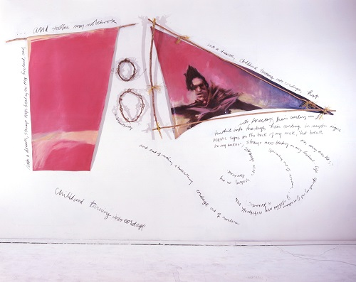 A. M. HOCH, Portrait of the Artist as a Young Boat (Adolescence); installation with oil on canvases with handwritten text, charcoal; latex paint; wood; and straw; 124 x 180 inches, 1988