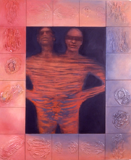 A. M. HOCH, Conjoined Couple, oil on conjoined canvases, approximately 72 x 60 inches, 2001
