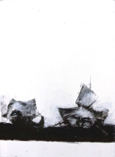 A. M. HOCH, Two Boat Heads, monoprint, chalk, and charcoal, 30 x 22 inches, 1988