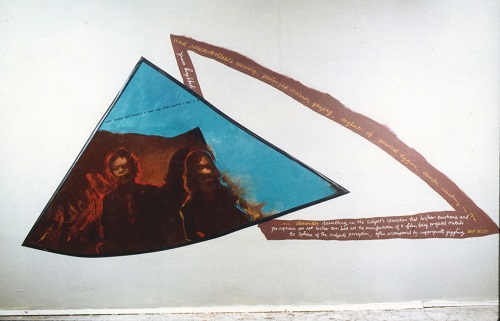A. M. HOCH, Rushes; installation with oil on canvas and handwritten text on wall, 120 x 221 inches, 1989