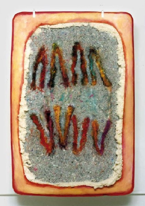 A. M. HOCH, Splitting, oil paint on mattress, 81 x 53 inches, 1999