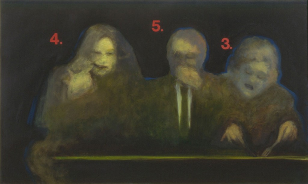 A. M. HOCH, Eating with Others, oil on canvas, 34.75 x 60 inches, 1992