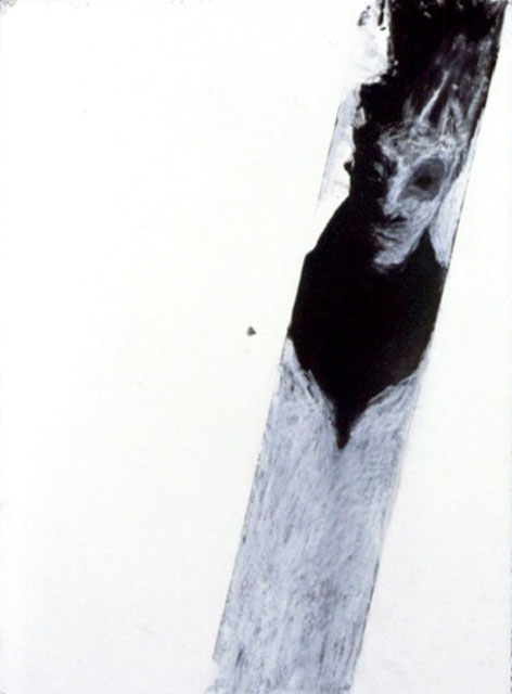 A. M. HOCH, Spinning Head, monoprint, chalk, and charcoal, 30 x 22 inches, 1988