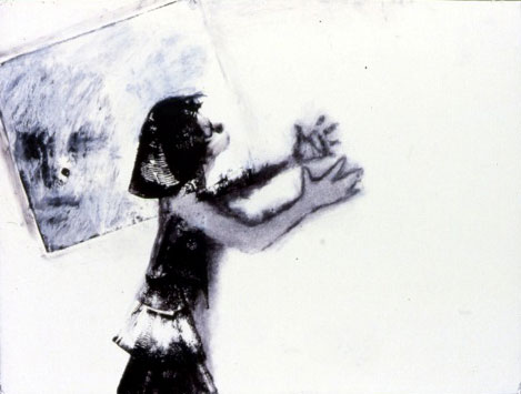 A. M. Hoch, Sleep Walker, monoprint, chalk, and charcoal, 16.75 x 29 inches, 1988