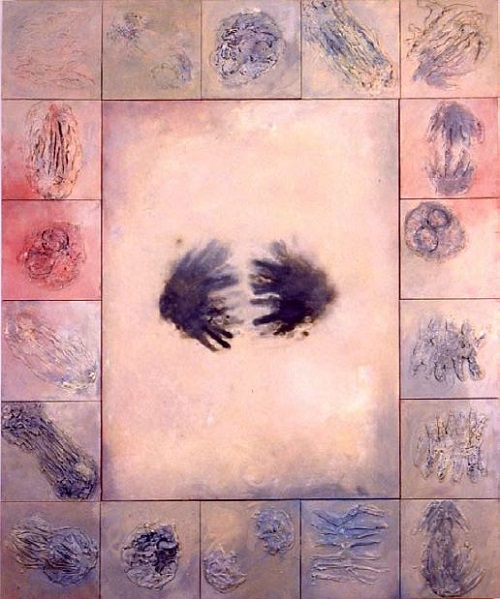 A. M. HOCH, Groping, oil on canvases, 72 x 60 inches, 2001