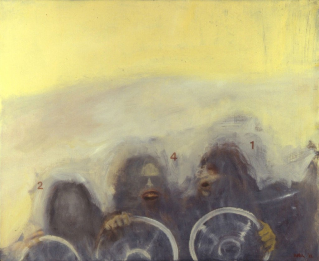 A. M. HOCH, Drivers, oil on canvas, approximately 31 x 54 inches, 1992