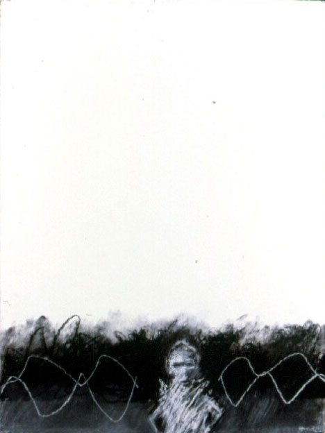 A. M. HOCH, Vibrating Figure, monoprint, chalk, and charcoal, 30 x 22.50 inches, 1988