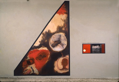 A. M. HOCH, Mitosis (Third Stage); installation with oil on canvas, tape, collage with embedded text and photos; 96 x 138 inches, 1990