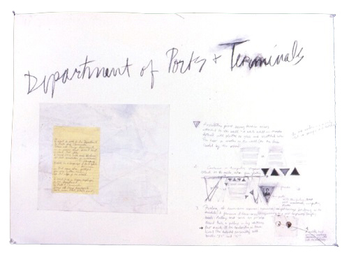 A. M. HOCH, Dept. of Ports and Terminals, mixed media on paper, 26 x 36 inches. 1989