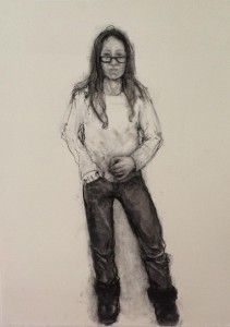 A. M. HOCH, Self-portrait (after MS Diagnosis), charcoal on paper, 30 x 22 inches, 2013