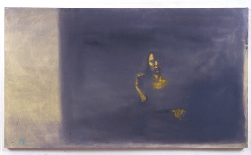 A. M. HOCH, Self-portrait (green), oil on canvas. 42 x 72 inches, 1992