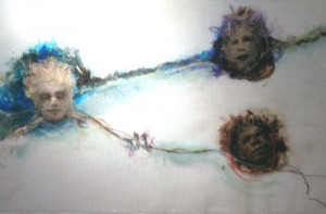 A. M. HOCH, Three Floating Heads, oil paint and markers on bubble wrap, approximately 38 x 72 inches, 2012