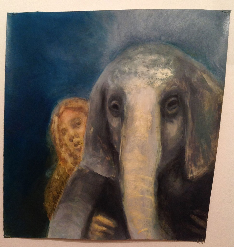A. M. HOCH, Young Woman Carrying a Sick Baby Elephant, oil on canvas, 23.6 x 23.6 inches (approximately), 2010