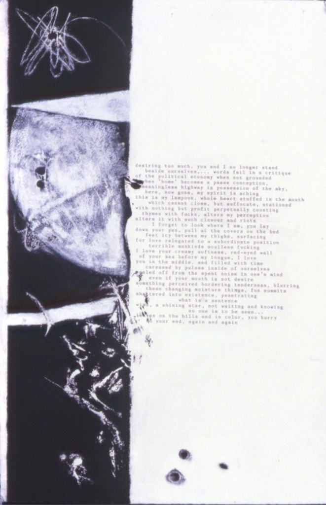 "A. M. HOCH, Collaboration with Andrew Levy, poem ""desiring too much"", no. 2, litho type with monoprint and chalk on paper, approx. 20 x 15 inches, 1988"