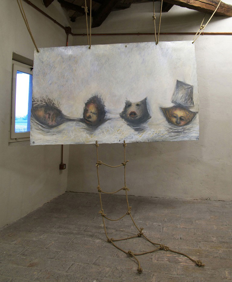 A. M. HOCH; fourth level of castle tower: Boat Souls; sculpture/painting with oil on canvas and ropes; approximately 54 x 83 inches; 2008/2011