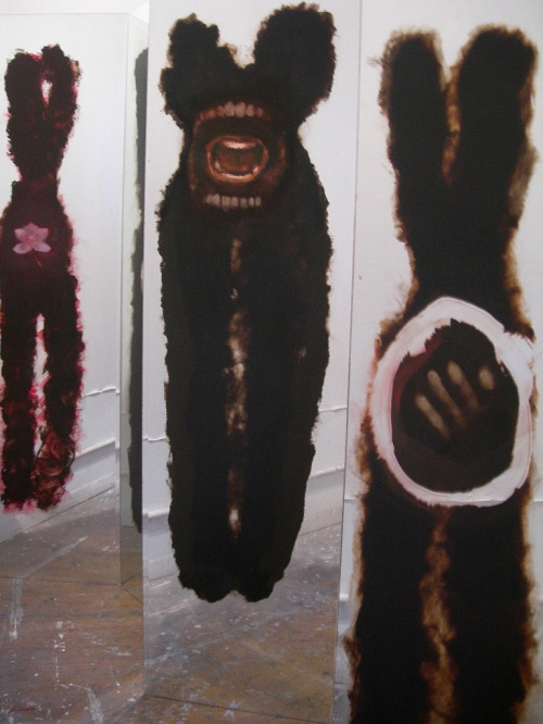 A. M. HOCH, Self-portrait (in-progress), installation with paintings on mirrors, dimensions variable, began 2004