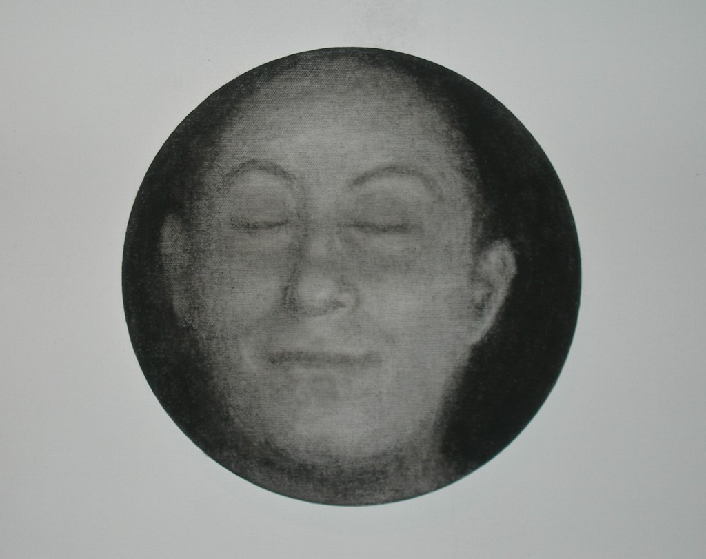 A. M. HOCH, Portrait of Stefi, charcoal on canvas, 10 inches in diameter, 2010