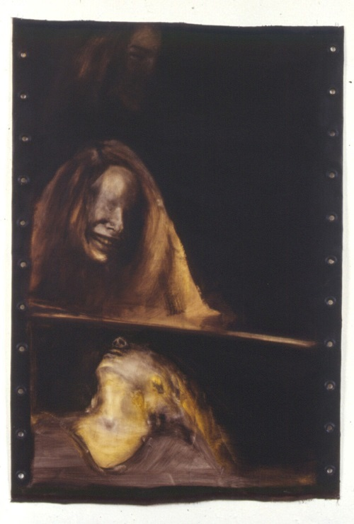 A. M. HOCH, Self-portrait (as a film strip); oil on canvas with grommets, 31 x 45.5 inches, 1991