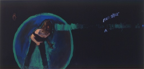 A. M. HOCH, Self-portrait as a Rock Star; oil on canvas with grommets, 52 x 108 inches, 1991