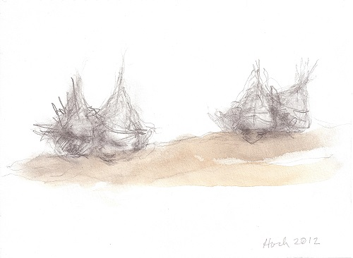A. M. HOCH, Four Boat Heads, ink wash and chalk, 6 x 7.5 inches, 2012