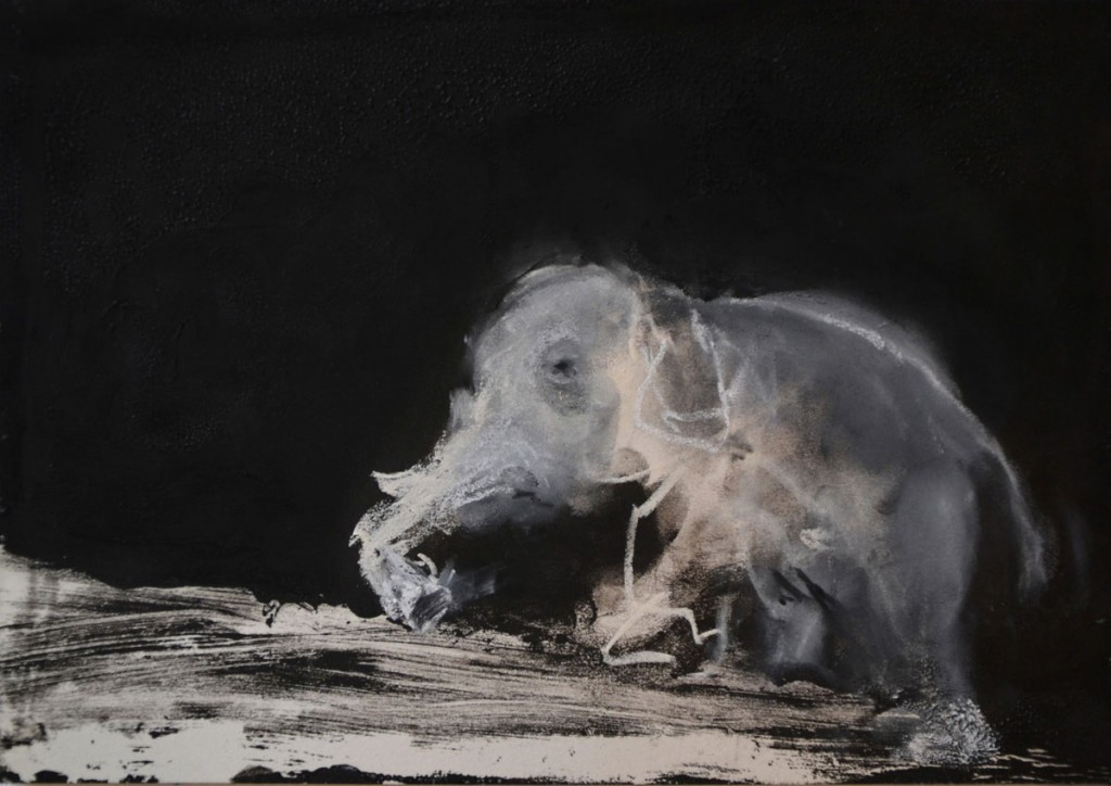 A. M. HOCH, <em>Elephant Climbing</em>, monoprint with pastel, 18 x 26 cm (7 x 10.25 inches), 2014