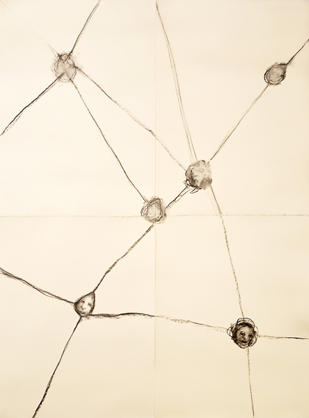 AM HOCH, Connected Pulley Heads in Four Parts, mixed media on paper, 153 x 112 cm, ( 60 x 44 inches), 2013