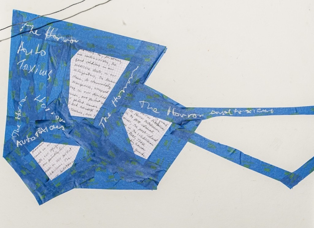 AM HOCH, The Horror Autotoxicus, no.1; DETAIL: Subdivision; blue tape, chalk, graph paper, pen; 16.5 inches x 31.75 inches (42 cm x 81 cm); 2018